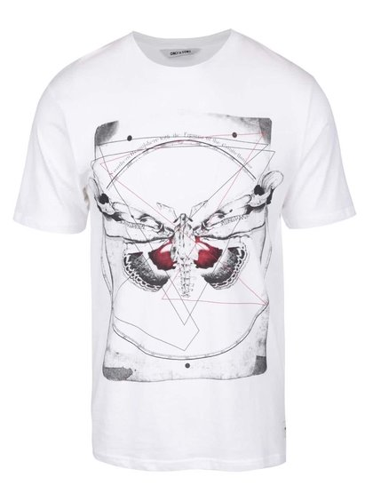 Bílé triko s potiskem ONLY & SONS Skulls