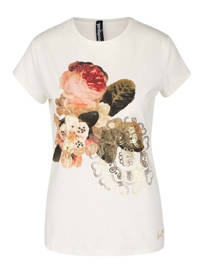 Krémové tričko s potlačou Desigual Tibetan Rose