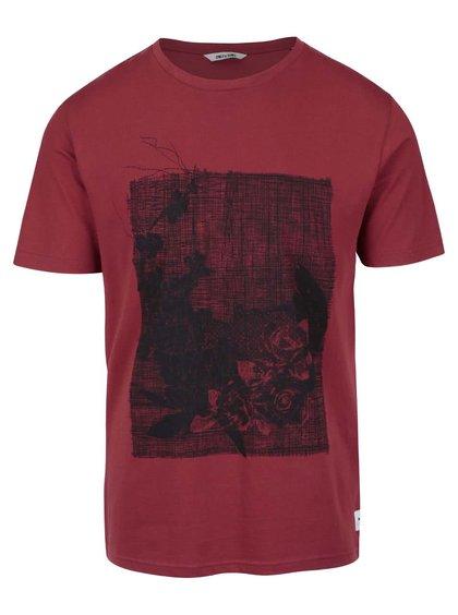 Tehlovočervené tričko s potlačou ONLY & SONS Skulls