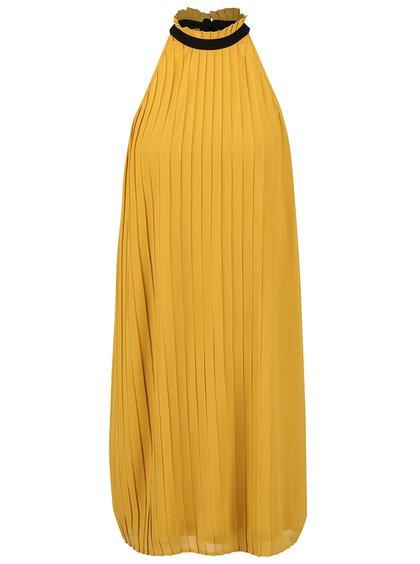 Hořčicové plisované šaty se stojáčkem a mašlí VERO MODA Lima