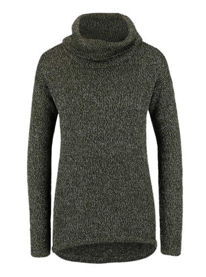 Tmavozelený melírovaný sveter s rolákom VERO MODA Jive
