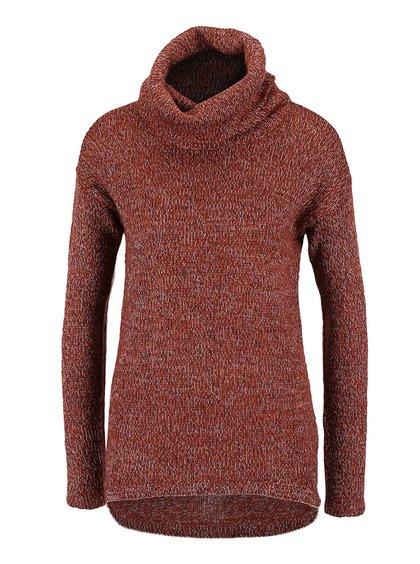 Pulover roșu melanj Vero Moda Jive cu tiv asimetric
