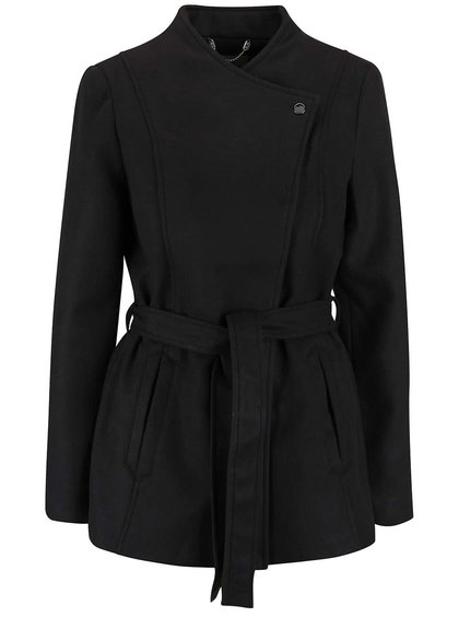 Čierny kabát s opaskom VERO MODA Fieliga