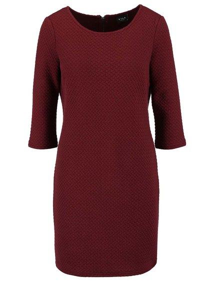 Vínové strukturované šaty s 3/4 rukávy VILA Naja