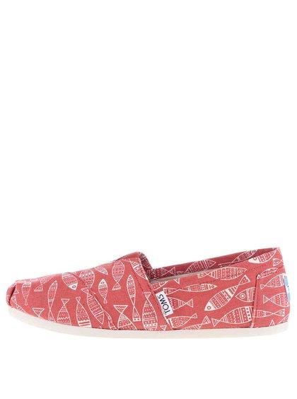 Červené dámske loafers s potlačou rýb Toms