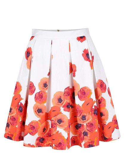 Krémová sukně s červenými květy Closet