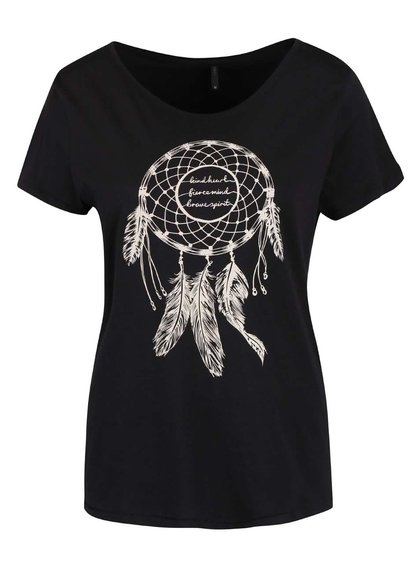 Čierne tričko s potlačou lapača snov ONLY Cotton
