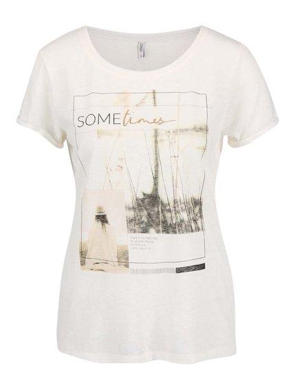 Krémové žíhané tričko s potiskem ONLY Milla