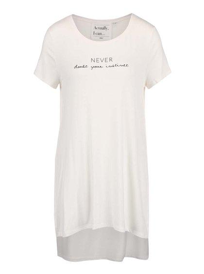 Krémové dlouhé tričko s potiskem ONLY Helena