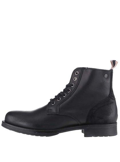 Čierne kožené členkové topánky Jack & Jones Sting