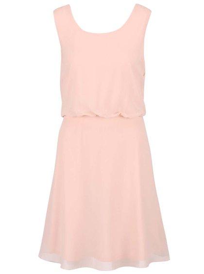 Pudrově růžové šaty se stažením v pase a krajkou na zádech VILA Ossa