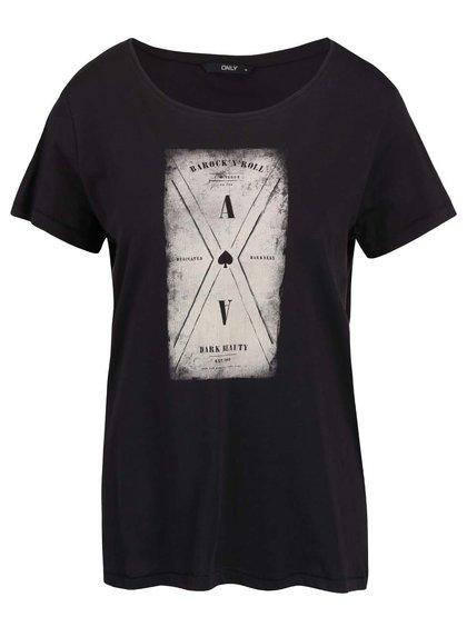 Čierne tričko s potlačou ONLY Cotton