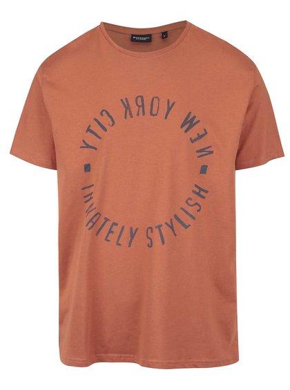 Tmavě oranžové pánské triko s potiskem Broadway Bennie