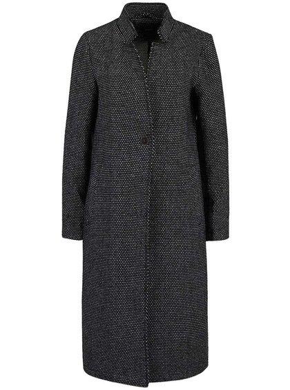 Černý delší kabát s žakárovým vzorem ONLY Ally