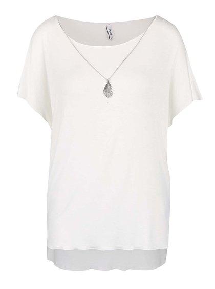 Krémové tričko s ozdobným pírkem na řetízku ve stříbrné barvě ONLY Sylvia