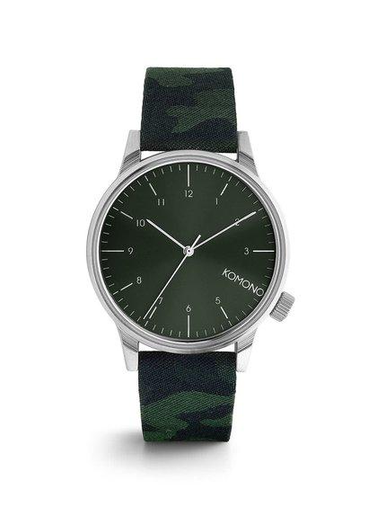Pánské hodinky ve stříbrné barvě s textilním páskem Komono Winston Print