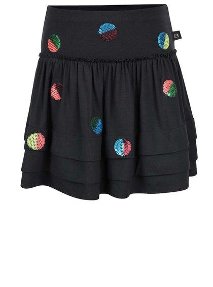 Tmavosivá dievčenská sukňa s flitrovými gombíkmi Bóboli