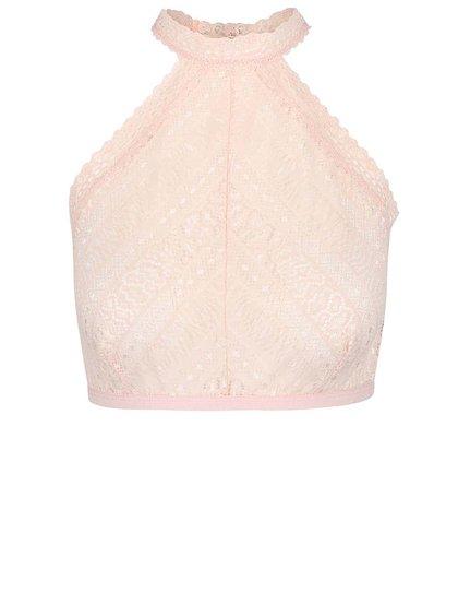 Bustieră halter roz pudră Pieces Jill din dantelă