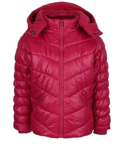 Tmavě růžová holčičí prošívaná bunda s kapucí Bóboli