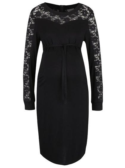Čierne tehotenské šaty s čipkovanými detailmi Mama.licious Lason