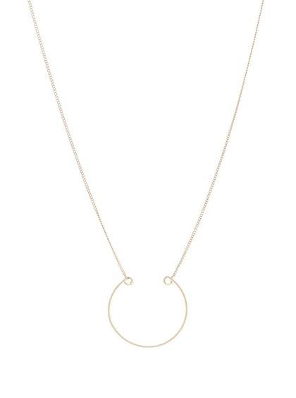 Colier lung auriu Pieces Line cu pandantiv rotund