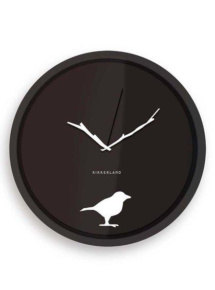 Čierne nástenné hodiny Kikkerland Bird Silhoutte