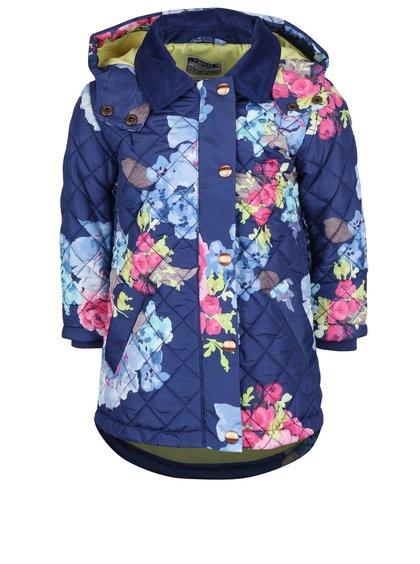 Tmavomodrá dievčenská prešívaná bunda s kvetovaným vzorom Tom Joule Marcotte