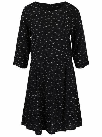 Čierne vzorované šaty s dlhým rukávom Broadway Natasha