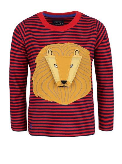 Červené pruhované chlapčenské tričko s nášivkou leva Tom Joule Chomp