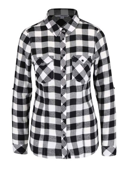 Bielo-čierna kockovaná košeľa s vreckami TALLY WEiJL