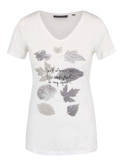Krémové dámské tričko s motivem listů Broadway Betty