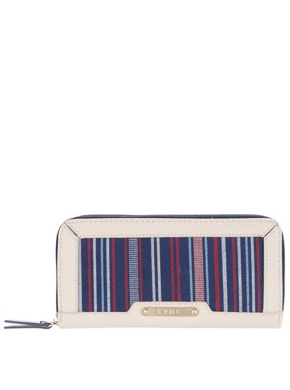 Krémová peněženka s červeno-modrými pruhy LYDC