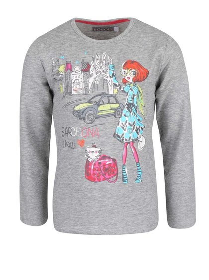 Šedé holčičí tričko s potiskem dívky v Barcelóně Bóboli