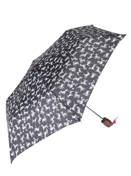 Tmavomodrý skladací dáždnik s potlačou psov Tom Joule Brolly