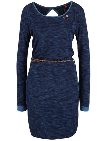 Tmavě modré žíhané šaty s páskem Ragwear Loco