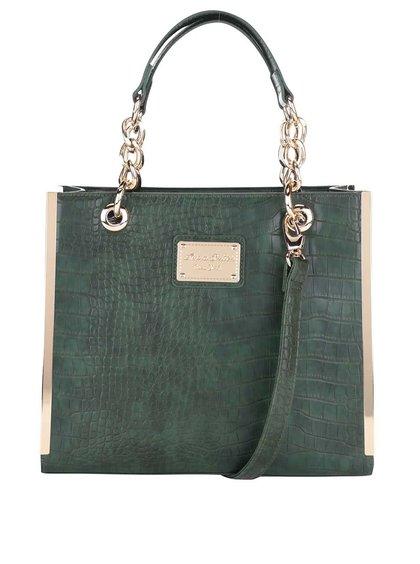 Tmavě zelená kabelka s detaily ve zlaté barvě Anna Smith