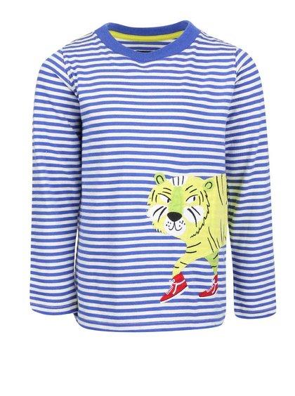 Modré pruhované chlapčenské tričko s nášivkou tigra Tom Joule Jack