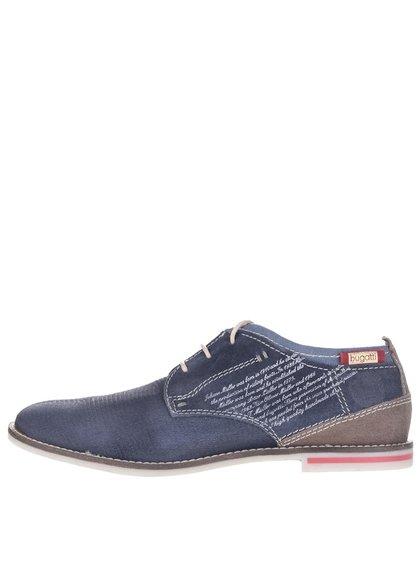 Pantofi bleumarin din piele de căprioară bugatti pentru bărbați