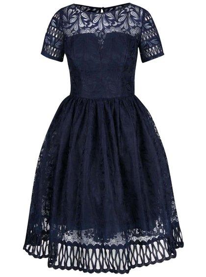 Tmavomodré šaty s krátkymi rukávmi Chi Chi London Sheridan
