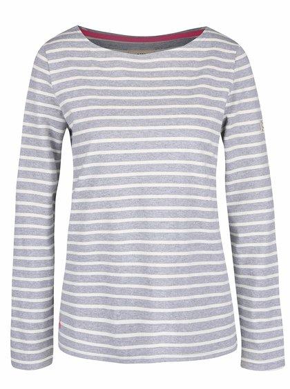Svetlosivé dámske pruhované tričko s dlhým rukávom Tom Joule Harbour