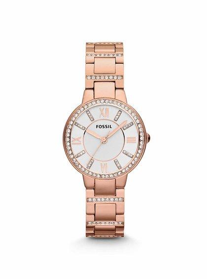 Dámské hodinky v růžovo-zlaté barvě s ozdobnými kamínky Fossil