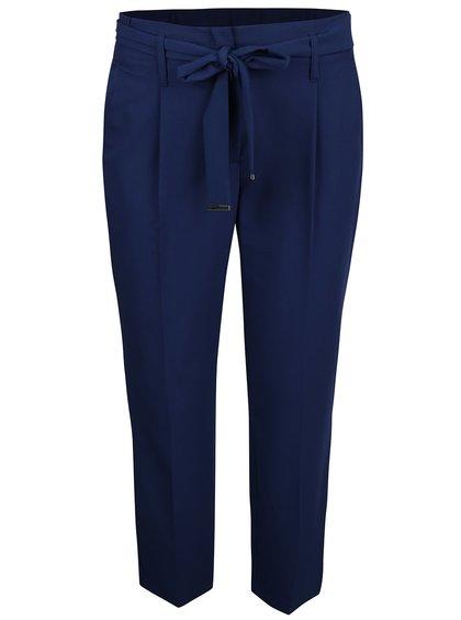 Tmavě modré zkrácené kalhoty s páskem Dorothy Perkins