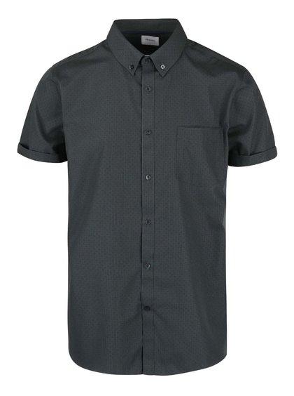 Tmavě zelená vzorovaná košile s krátkým rukávem Burton Menswear London