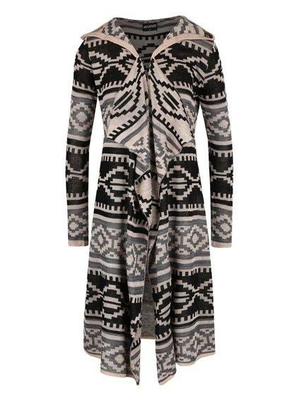 Černo-béžový delší cardigan s kapucí Haily´s Celia