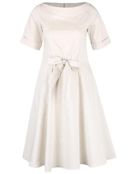 Krémové šaty s mašlí v pase Closet