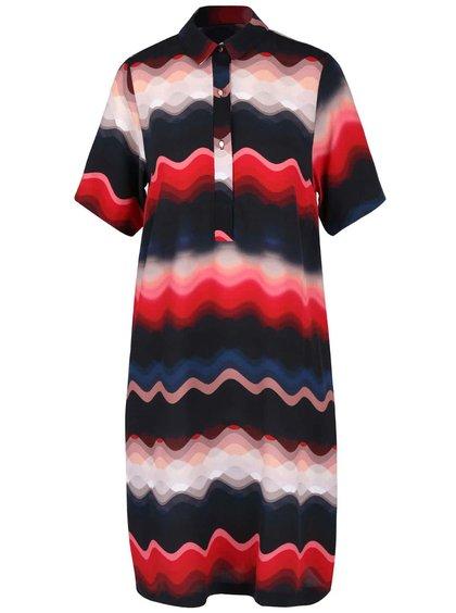 Červeno-modré voľnejšie vzorované šaty s golierikom Closet
