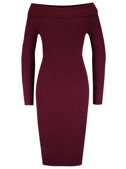 Vínové šaty s lodičkovým výstrihom Miss Selfridge