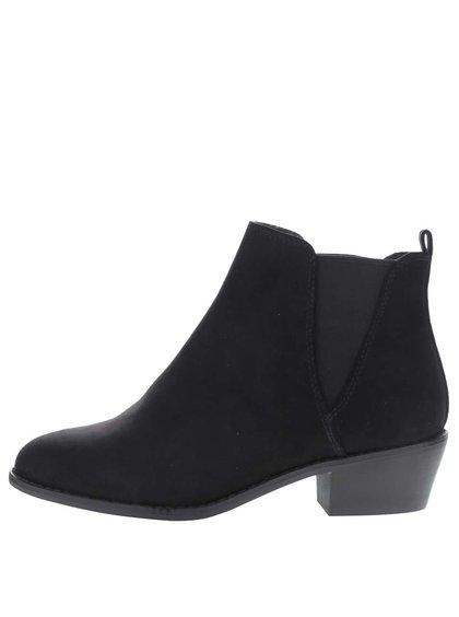 Čierne chelsea topánky v semišovej úprave Dorothy Perkins