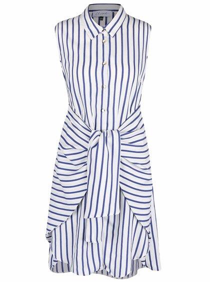 Modro-krémové pruhované šaty se stuhou Closet