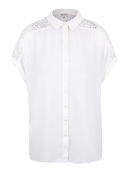 Krémová košeľa s čipkou na rukávoch Miss Selfridge
